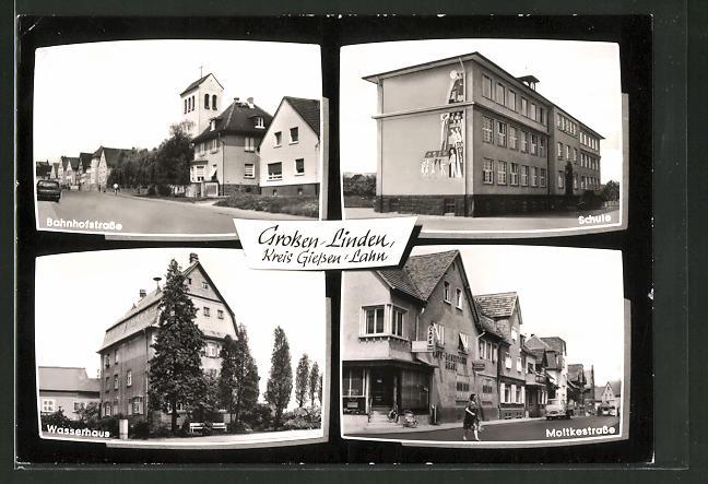 AK Grossen-Linden, Bahnhofstrasse, Schule, Wasserhaus, Moltkestrasse