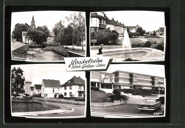 AK Heuchelheim / lahn, Kirche, Grünanalgen, Rödheimerstrasse, Schule