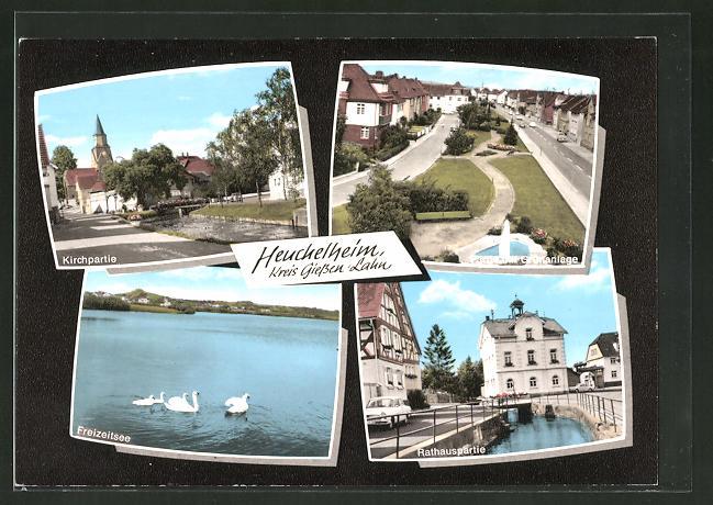 AK Heuchelheim / Lahn, Kirche, Freizeitsee, Rathaus, Grünanalagen