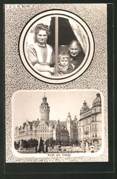 AK Leipzig, Ortsansicht mit einem Familiebild
