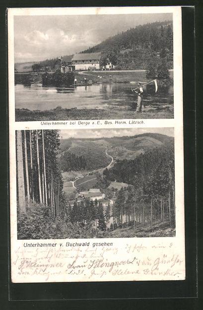 AK Unterhammer b. Berga a. E., Bes. Herm. Lätzsch, Ortsansicht vom Buchwald aus