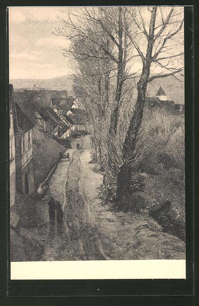 Künstler-AK Sersheim, Ortspartie im Vorfrühling von Gustav Schönleber