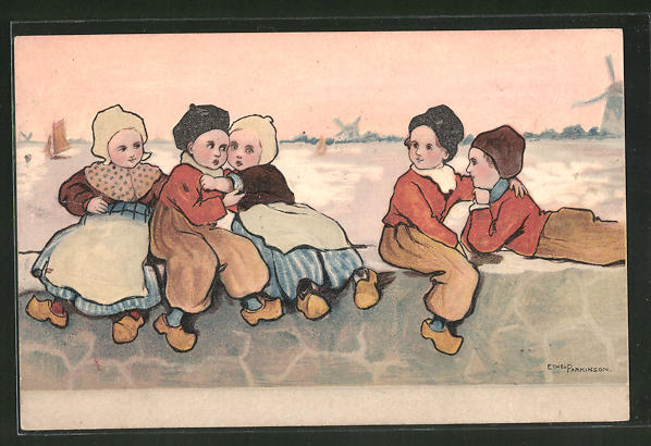 Künstler-AK Ethel Parkinson: Holländer Kinder spielen auf einer Kaimauer