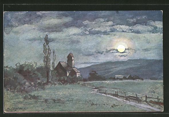 Künstler-AK August Splitgerber: Kirche bei Vollmond