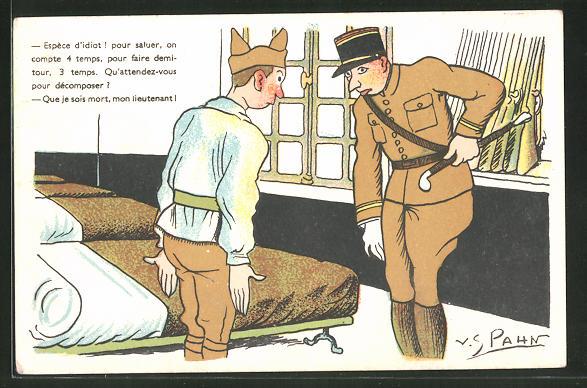 Künstler-AK Französischer Soldat und Leutnant in Uniform