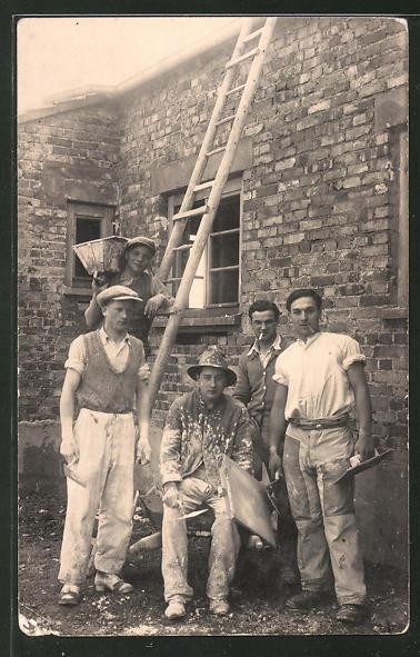 Foto-AK Maurer auf Baustelle