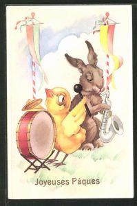 AK Joyeuses Pâques, Osterhase musiziert mit Küken