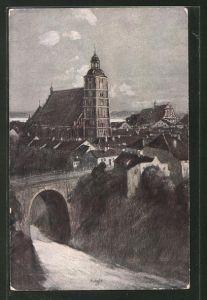 Künstler-AK Fritz Hass: Wartenburg, Totale mit Brücke und Kirche