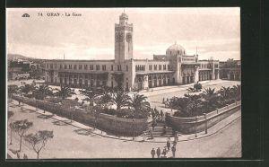 AK Oran, La Gare, Blick auf den Bahnhof