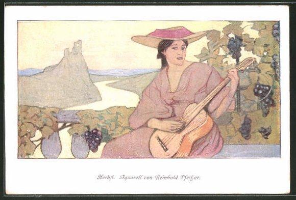Künstler-AK sign. Reinholf Pfeiffer: Herbst, junge Frau spielt Gitarre, Weinreben