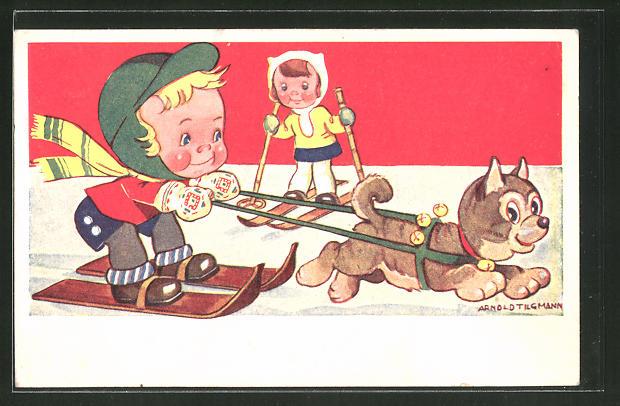 Künstler-AK Arnold Tilgmann: Kinder auf Skiern und Hundeschlitten