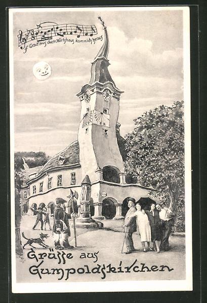 Wirtshaus-AK Gumpoldskirchen, Rathaus aus der Sicht eines Betrunkenen