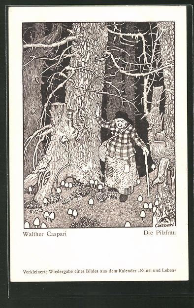 Künstler-AK Walther Caspari: Alte Pilzfrau im Wald