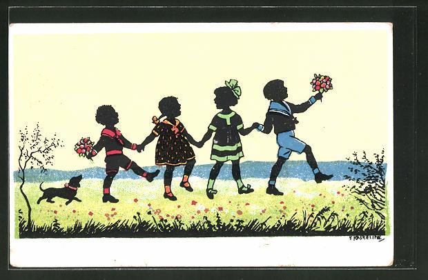 Künstler-AK Friedrich Kaskeline: Kinder mit Blumen halten sich an den Händen
