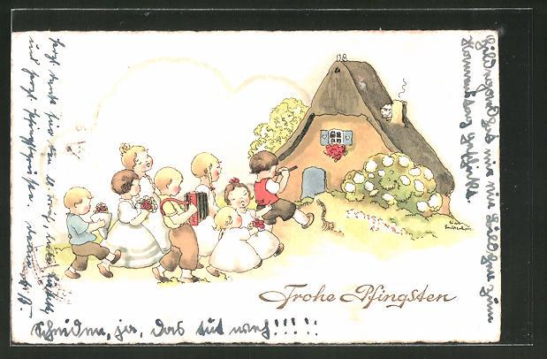 Künstler-AK Liesel Lauterborn: Frohe Pfingsten, Musizierende Kinder vor einem Haus