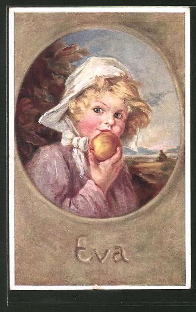 Künstler-AK K. Barth: Eva mit Hut und Apfel