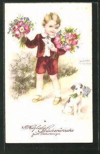 Künstler-AK Hannes Petersen: kleiner Junge mit Blumensträussen und Brief, Hund