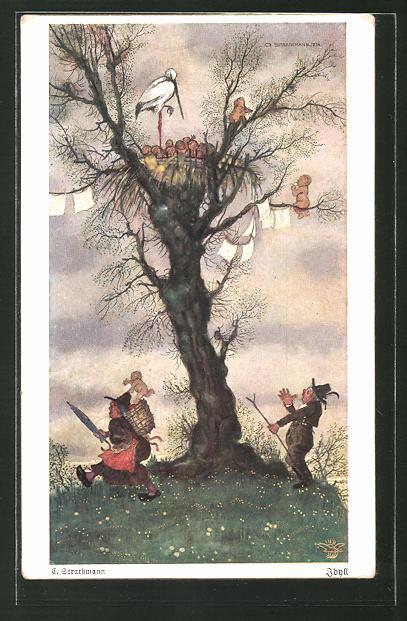 Künstler-AK Wohlgemuth & Lissner, Primus-Postkarte No. 3004: Storch wirft ein Kind in die Kiepe einer Frau