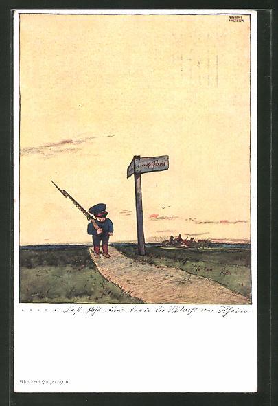 Künstler-AK Adalbert Holzer: Kleiner Soldat auf dem Weg nach Paris