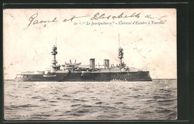 AK Le Jauréguiberry, Cuirassé d'Escadre à Tourelles, französ. Kriegsschiff