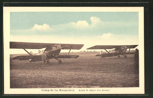 AK Camp de La Malmaison, Avant le départ des Avions, Doppeldecker
