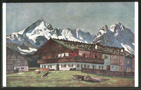 Künstler-AK G. Hirth's Verlag, Serie XXV, 3: Bauernhof im Werdenfelser Lande