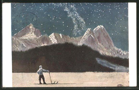 Künstler-AK G. Hirth's Verlag, Serie XXV, 2: Sternennacht am Wetterstein