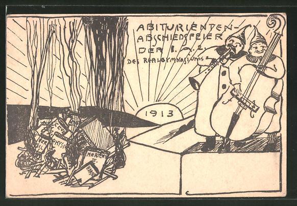 AK Abiturienten-Abschiedsfeier der I.A.2 des Realgymnasiums, Absolvia 1913