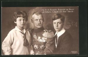 AK Kronprinz Rupprecht von Bayern mit Erbprinz Luitpold und Prinz Albrecht