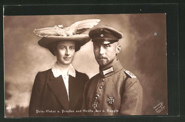 AK Prinz Oskar von Preussen und Gräfin Ina von Ruppin