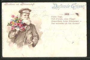 Duft-AK mit Blumenduft, Mann überbringt einen Blumenstrauss,