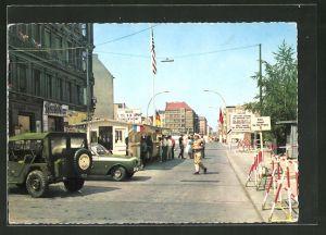AK Berlin, Checkpoint Charlie, Passierstelle Friedrichstrasse an der Sektorengrenze