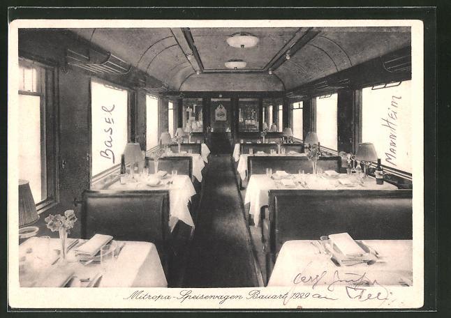 AK Mitropa-Speisewagen Bauart 1929 mit festlich gedeckten Tischen