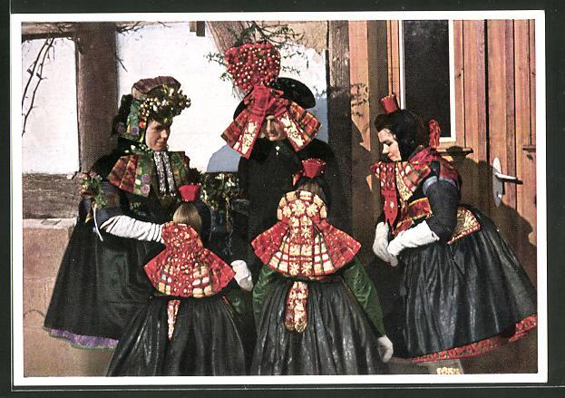 AK Frauen in hessischer Tracht,