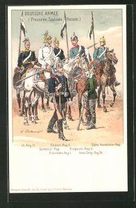 Künstler-AK Deutsche Armee (Preussen, Sachsen, Hessen), Soldaten verschiedener Regimenter in Uniform, Dragoner-Reg. 5