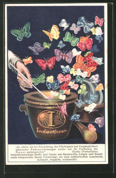 AK Färbemittel Indanthren, aus einem Topf steigen bunte Schmetterlinge empor