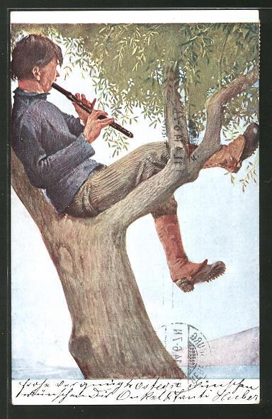 Künstler-AK G. Hirth's Verlag, Serie XIII, 4: Im Olivenbaum, Mann mit Flöte