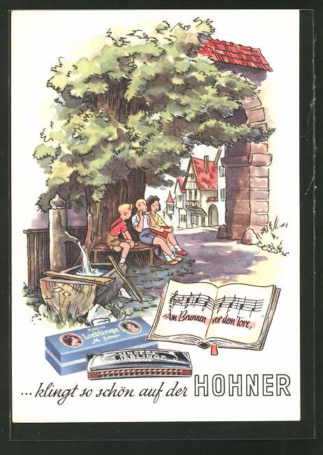 Künstler-AK Reklame für Hohner Mundharmonika, Volkslied