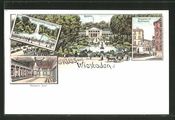Lithographie Wiesbaden, Kranzplatz mit Kochbrunnen, Kurhaus-Saal