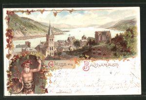 Lithographie Bacharach a. Rh., Teilansicht mit Blick auf den Rhein, Bacchus