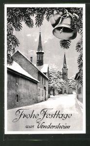 AK Vendersheim, Strassenpartie mit Blick zur Kirche im Winter