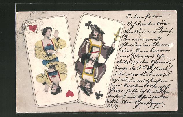 AK Herz Dame beim Kartenspiel dreht dem Kreuz Buben eine lange Nase
