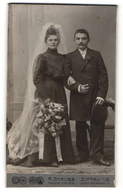 Fotografie H. Strube, Zittau i/S, Portrait Braut und Bräutigam, Hochzeitspaar