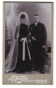 Fotografie A. Wehle, Zittau i/S, Portrait Braut und Bräutigam, Hochzeit