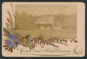 Fotografie Fotograf unbekannt, Ansicht Mühlhausen, Blick zu einem Herrenhaus, mit echten Trockenblumen