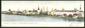 Klapp-AK Düsseldorf, Panorama von der Industrie- und Gewerbe-Ausstellung 1902, Blick v. d. Rheinbrücke