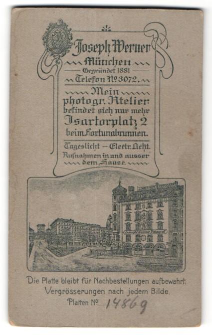 Fotografie Joseph Werner, München, rückseitige Ansicht München, Atelier Isartorplatz 2, vorderseitig Portrait