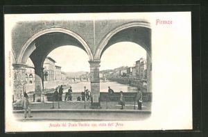 AK Firenze, Arcade del Ponte Vecchio con vista dell'Arno