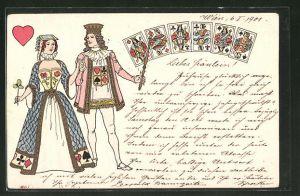AK Herz Dame und Herz König beim Kartenspiel