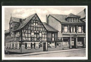 AK Bad Ems, Strassenpartie mit Fachwerkhäusern, Gasthaus